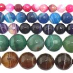 Agat Beads, Agat përziera, Round, asnjë, shirit, 14mm, : 1-1.5mm, :15Inç, 5Fillesat/Shumë,  Shumë