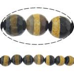 Natyrore tibetian agat Beads DZI, Round, asnjë, makinë faceted, 8mm, : 2mm, :14Inç, 5Fillesat/Shumë,  Shumë
