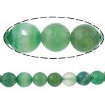 Beads Dashuri Green agat, Jeshile agat, Round, asnjë, makinë faceted & shirit, 10mm, : 2mm, :15Inç, 5Fillesat/Shumë,  Shumë