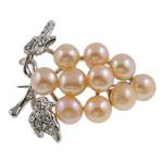 Pearl ujërave të ëmbla karficë, Pearl kulturuar ujërave të ëmbla, with Tunxh, Hardhi, rozë, 39x35x15mm,  PC