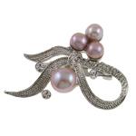 Pearl ujërave të ëmbla karficë, Pearl kulturuar ujërave të ëmbla, with Tunxh, Bowknot, vjollcë, 51x36x15mm,  PC