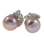Një palë vathë Pearl ujërave të ëmbla, Pearl kulturuar ujërave të ëmbla, Shape Tjera, asnjë, vjollcë, 9-10mm, 10Çiftet/Qese,  Qese