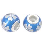 Porcelani Beads European, Rondelle, i praruar, core bronzi të dyfishtë pa karrem, blu, 14x11mm, : 5mm, 50PC/Qese,  Qese