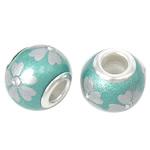 Porcelani Beads European, Rondelle, i praruar, core bronzi të dyfishtë pa karrem, dritë blu, 14x11mm, : 5mm, 50PC/Qese,  Qese