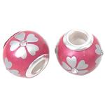 Porcelani Beads European, Rondelle, i praruar, core bronzi të dyfishtë pa karrem, rozë, 14x11mm, : 5mm, 50PC/Qese,  Qese