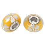Porcelani Beads European, Rondelle, i praruar, core bronzi të dyfishtë pa karrem, i verdhë, 16x9mm, : 5mm, 50PC/Qese,  Qese