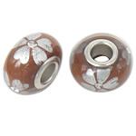 Porcelani Beads European, Rondelle, i praruar, core bronzi të dyfishtë pa karrem, ngjyrë kafe, 16x9mm, : 5mm, 50PC/Qese,  Qese
