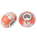 Porcelani Beads European, Rondelle, i praruar, core bronzi të dyfishtë pa karrem, portokall, 16x9mm, : 5mm, 50PC/Qese,  Qese