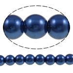 Glass Beads Pearl, Xham, Round, asnjë, blu, 8mm, : 1-1.5mm, : 31.9Inç, 10Fillesat/Qese,  Qese