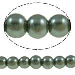 Glass Beads Moda, Xham, Round, asnjë, jeshile të thellë, 8mm, : 1-1.5mm, :31.9Inç, 10Fillesat/Qese,  Qese