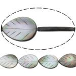 Beads Zi Shell, Gjethe, natyror, asnjë, asnjë, 12x16x3mm, : 0.7mm, :15.5Inç, 5Fillesat/Shumë,  Shumë