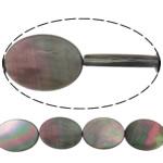 Beads Zi Shell, Oval Flat, natyror, asnjë, asnjë, 20x15x3.50mm, : 0.7mm, :15.5Inç, 5Fillesat/Shumë,  Shumë