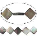 Beads Zi Shell, Romb, natyror, asnjë, asnjë, 13x13x3mm, : 0.7mm, :15.5Inç, 5Fillesat/Shumë,  Shumë