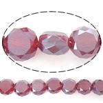 Imitim Swarovski Crystal Beads, Kristal, Round Flat, gjysmë-kromuar, imitim kristal Swarovski, Siam, 6x6x3.50mm, : 1mm, : 22Inç, 5Fillesat/Shumë,  Shumë