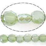 Imitim Swarovski Crystal Beads, Kristal, Round Flat, gjysmë-kromuar, imitim kristal Swarovski, jeshile ulliri, 6x6x3.50mm, : 1mm, : 22Inç, 5Fillesat/Shumë,  Shumë