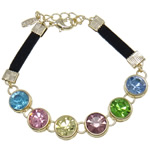 Zinc Alloy Rhinestone Bracelets, with Velveteen Cord, zinc alloy lobster clasp, with rhinestone, nickel, lead & cadmium free, 10x7mm, Sold Per 7.5 Inch Strand