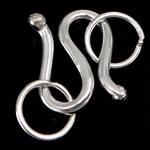 Kapje 925 Sterling Silver Hook S, Shape Tjera, argjend praruar vërtetë, asnjë, asnjë, 7.50x10.50x1.50mm, : 4mm, 20Sets/Shumë,  Shumë