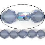 Imitim Swarovski Crystal Beads, Kristal, Round Flat, gjysmë-kromuar, imitim kristal Swarovski, Lt Sapphire, 12x12x7mm, : 1.2mm, 300PC/Shumë,  Shumë