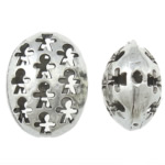 Beads aliazh zink Hollow, Alloy zink, Oval Flat, Ngjyra antike argjendi praruar, i uritur, asnjë, , nikel çojë \x26amp; kadmium falas, 17.50x22x12mm, : 1.5mm, 100PC/Qese,  Qese