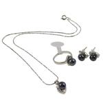 Natyrore kulturuar Pearl ujërave të ëmbla bizhuteri Sets, Pearl kulturuar ujërave të ëmbla, Round, natyror, e zezë, 8x14x8mm, 21x28x11mm, 8x11x20mm, : 18mm, :8, :15.5Inç,  I vendosur