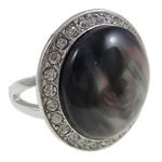 Zink Alloy Ring Finger, Alloy zink, with Rrëshirë, Oval, ngjyrë platin praruar, me diamant i rremë, asnjë, , nikel çojë \x26amp; kadmium falas, 31x26x26mm, : 18mm, :8, 12PC/Qese,  Qese