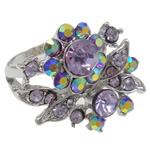 Zink Alloy Ring Finger, Alloy zink, Lule, ngjyrë platin praruar, me diamant i rremë, asnjë, , nikel çojë \x26amp; kadmium falas, 29x27x25mm, : 19mm, :9, 12PC/Qese,  Qese
