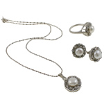 Natyrore kulturuar Pearl ujërave të ëmbla bizhuteri Sets, Pearl kulturuar ujërave të ëmbla, with Diamant i rremë, Round Flat, natyror, e bardhë, 17x21x10mm, 21x29x16.5mm, 16x21mm, : 18.5mm, :8.5, :15.5Inç,  I vendosur