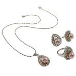 Natyrore kulturuar Pearl ujërave të ëmbla bizhuteri Sets, Pearl kulturuar ujërave të ëmbla, with Diamant i rremë, Kube, natyror, rozë, 17x25x11mm, 20x29.5x22mm, 17x22.5x23mm, : 16.5mm, :5.5, :16.5Inç,  I vendosur