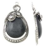 Varëse Bruz, Bruz sintetike, Lot, Ngjyra antike argjendi praruar, me diamant i rremë, e zezë, 40x69x11mm, : 3mm, 20PC/Qese,  Qese