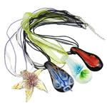 Lampwork Gjerdan, Shape përziera, punuar me dorë, lule e brendshme, ngjyra të përziera, 41x37x14-61x31x15mm, :16.5Inç, 12Fillesat/Kuti,  Kuti