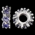 925 Sterling Silver Beads European, Rondelle, argjend praruar vërtetë, pa karrem & me zirconia kub, purpurtë drita, 4.80x12.50mm, : 4.7mm, 3PC/Qese,  Qese