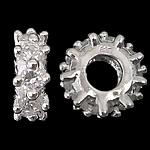 925 Sterling Silver Beads European, Rondelle, argjend praruar vërtetë, pa karrem & me zirconia kub, asnjë, 4.80x12.50mm, : 4.7mm, 3PC/Qese,  Qese
