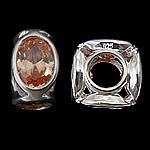 925 Sterling Silver Beads European, Tub, argjend praruar vërtetë, pa karrem & me zirconia kub, portokalli qartë, 10.50x10.50x6.20mm, : 4.7mm, 3PC/Qese,  Qese