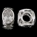 925 Sterling Silver Beads European, Tub, argjend praruar vërtetë, pa karrem & me zirconia kub, asnjë, 10.50x10.50x6.20mm, : 4.7mm, 3PC/Qese,  Qese