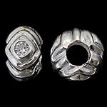 925 Sterling Silver Beads European, Rondelle, argjend praruar vërtetë, pa karrem & me zirconia kub, asnjë, 12.50x7mm, : 5.2mm, 3PC/Qese,  Qese