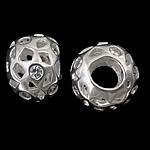 925 Sterling Silver Beads European, Rondelle, argjend praruar vërtetë, pa karrem & me zirconia kub, asnjë, 12.50x9mm, : 4.8mm, 3PC/Qese,  Qese