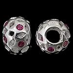 925 Sterling Silver Beads European, Rondelle, argjend praruar vërtetë, pa karrem & me zirconia kub, kuqe purplish, 12.50x9mm, : 4.8mm, 3PC/Qese,  Qese