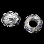 925 Sterling Silver Beads European, Rondelle, argjend praruar vërtetë, pa karrem & me zirconia kub, purpurtë drita, 12x8mm, : 5mm, 3PC/Qese,  Qese