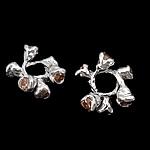 925 Sterling Silver Beads, Lule, argjend praruar vërtetë, me zirconia kub, portokall, 12x5.50mm, : 4.3mm, 5PC/Qese,  Qese