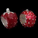 925 Sterling Silver Beads European, Lulushtrydhe, argjend praruar vërtetë, pa karrem, i kuq, 7.50x10.50mm, : 4.8mm, 5PC/Qese,  Qese