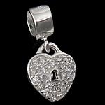 925 Sterling Silver varëse, Zemër, argjend praruar vërtetë, me zirconia kub, asnjë, 10x12.50x3mm, : 5mm, 5PC/Qese,  Qese