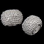 925 Sterling Silver Beads European, Rondelle, argjend praruar vërtetë, pa karrem, asnjë, 11.50x7.50mm, : 5mm, 3PC/Qese,  Qese