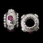 925 Sterling Silver Beads European, Rondelle, argjend praruar vërtetë, pa karrem & me zirconia kub, kuqe purplish, 6.50x10mm, : 4.5mm, 5PC/Qese,  Qese