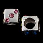 925 Sterling Silver Beads European, Kub, argjend praruar vërtetë, pa karrem & me zirconia kub, ngjyra të përziera, 8x8x8mm, : 4.7mm, 5PC/Qese,  Qese