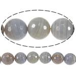 Natyrore Gri Beads agat, Grey agat, Round, asnjë, makinë faceted & shirit, 10mm, : 1.5mm, :15Inç, 5Fillesat/Shumë,  Shumë