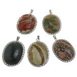 Pendants përziera gur i çmuar, with Tunxh, Oval, ngjyrë platin praruar, asnjë, 37x51x10.50mm, : 4mm, 10PC/Shumë,  Shumë