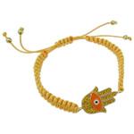 Hamsa Bracelets, Alloy zink, with Cord Wax, Dorë, ngjyrë ari praruar, smalt & me diamant i rremë, asnjë, , nikel çojë \x26amp; kadmium falas, 35.50x20.50x2.50mm, : 7.5Inç,  7.5Inç,