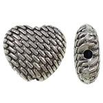 Beads Zink Alloy Zemra, Alloy zink, Zemër, Ngjyra antike argjendi praruar, me zirconia kub, asnjë, , nikel çojë \x26amp; kadmium falas, 9x10x4.50mm, : 1mm, 710PC/KG,  KG