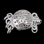 925 Sterling Silver Box kapje, Round Flat, argjend praruar vërtetë, 3-fije floku & i uritur, asnjë, 9x9x6mm, 5PC/Qese,  Qese
