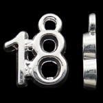 Zinklegierung Buchstaben Anhänger, Zahl, silberfarben plattiert, frei von Nickel, Blei & Kadmium, 12x10x2mm, Bohrung:ca. 2mm, 10PCs/Tasche, verkauft von Tasche